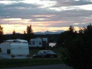 Solnedgång på Särna Camping